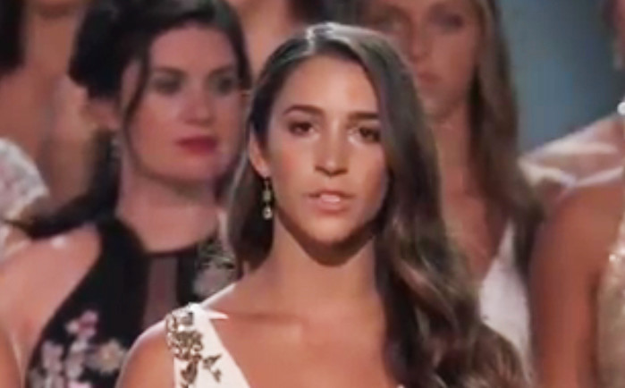 "Aly Raisman, U.S. Olympic gymnast and victim of sexual assault by Dr. Larry Nassar, speaking at the ESPY award ceremonies, which presented the Arthur Ashe ""courage"" award to 141 survivors on stage."