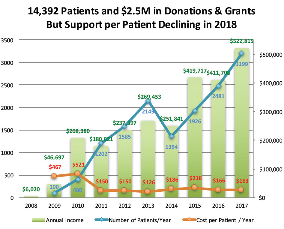 The overview of Clinica Esperanza's income, number of patients and costs per patient for the last 10 years.