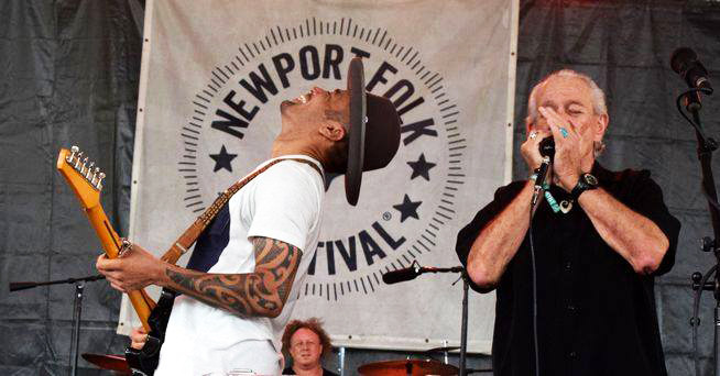 Ben Harper and Charlie Musselwhite perform at the 2018 Newport Folk Festival.