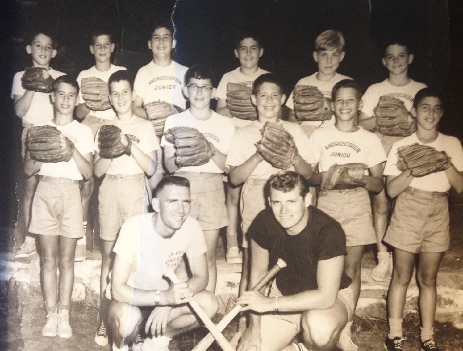 The undefeated Androscoggin Jr. baseball team from 1963: Jeff Lurie is the last player on the right in the first row of ballplayers; Richard Asinof is the fourth player from right in the first row of ballplayers; Bruce Berman is the third player from right in the second row of ballplayers.