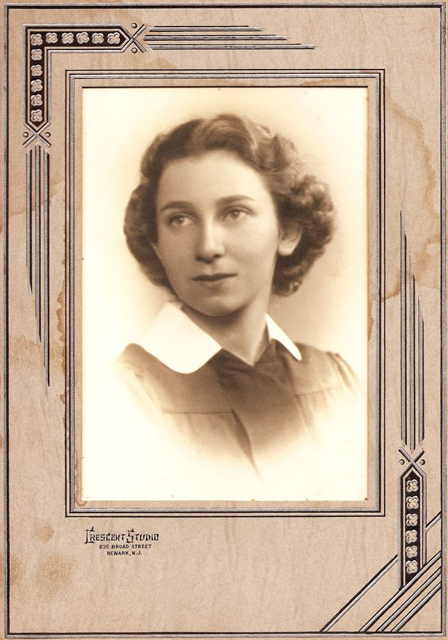 The high school graduation photograph of Gertrude D. Asinof when she was 16; when she was 49, she became shop steward of her union of social workers at a community agency and led a strike.