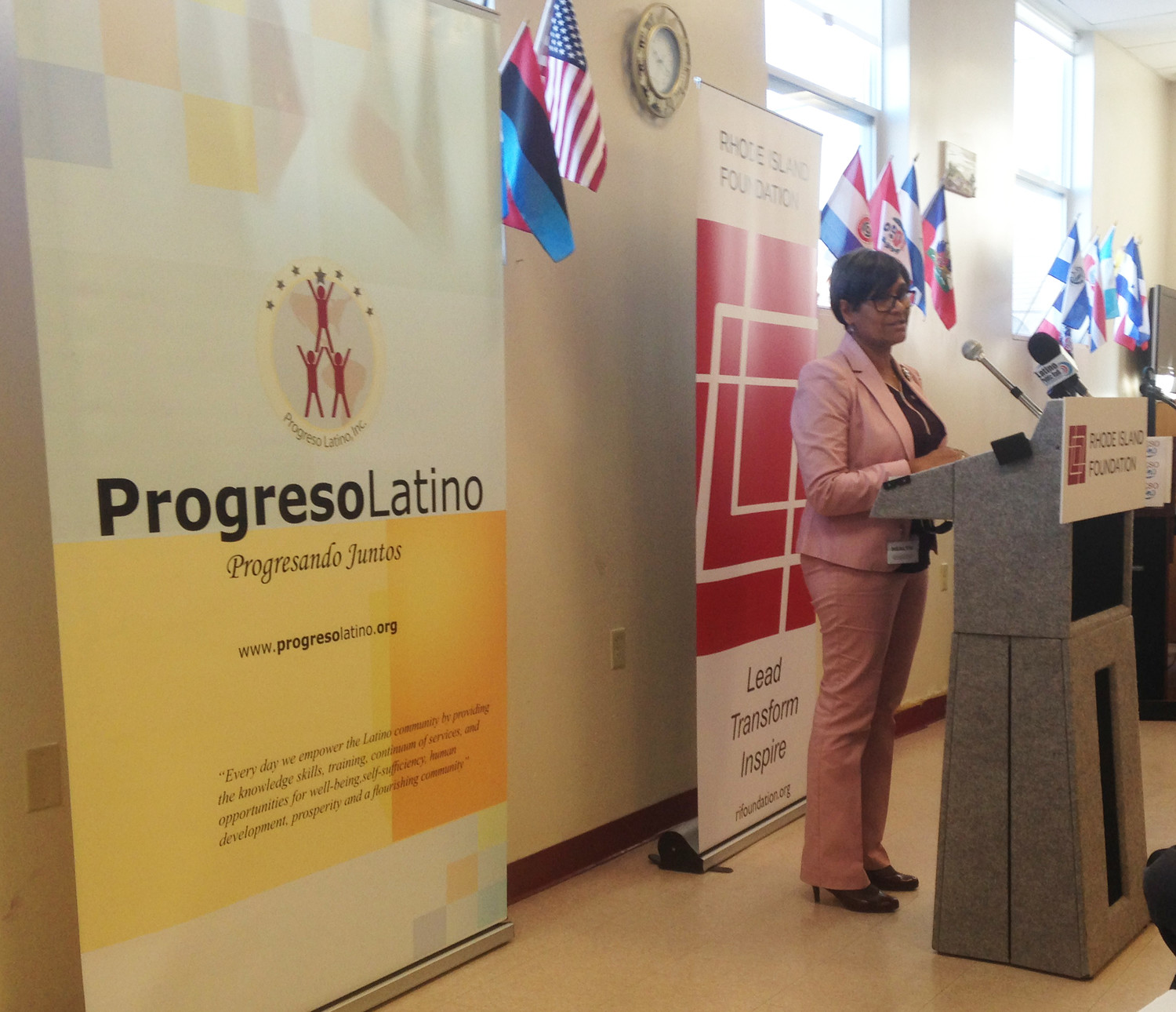 Ana Novais, executive director of the R.I. Department of Health, spoke at the announcement of $3.6 million in grants by The Rhode Island Foundation in six health equity zones in the state.