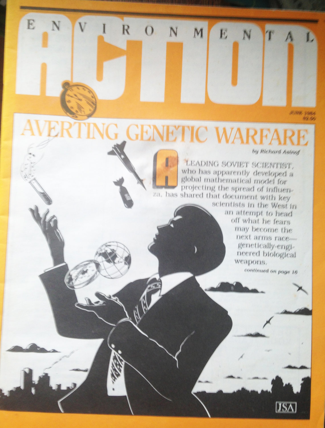 The cover of Environmental Action Magazine in May of 1984, reporting on the efforts to avert biological warfare, triggered by a Soviet scientist, Leonid Rvachev, who sent warning letters about how his mathematical modeling were potentially being misused to track biological agents in an attack.