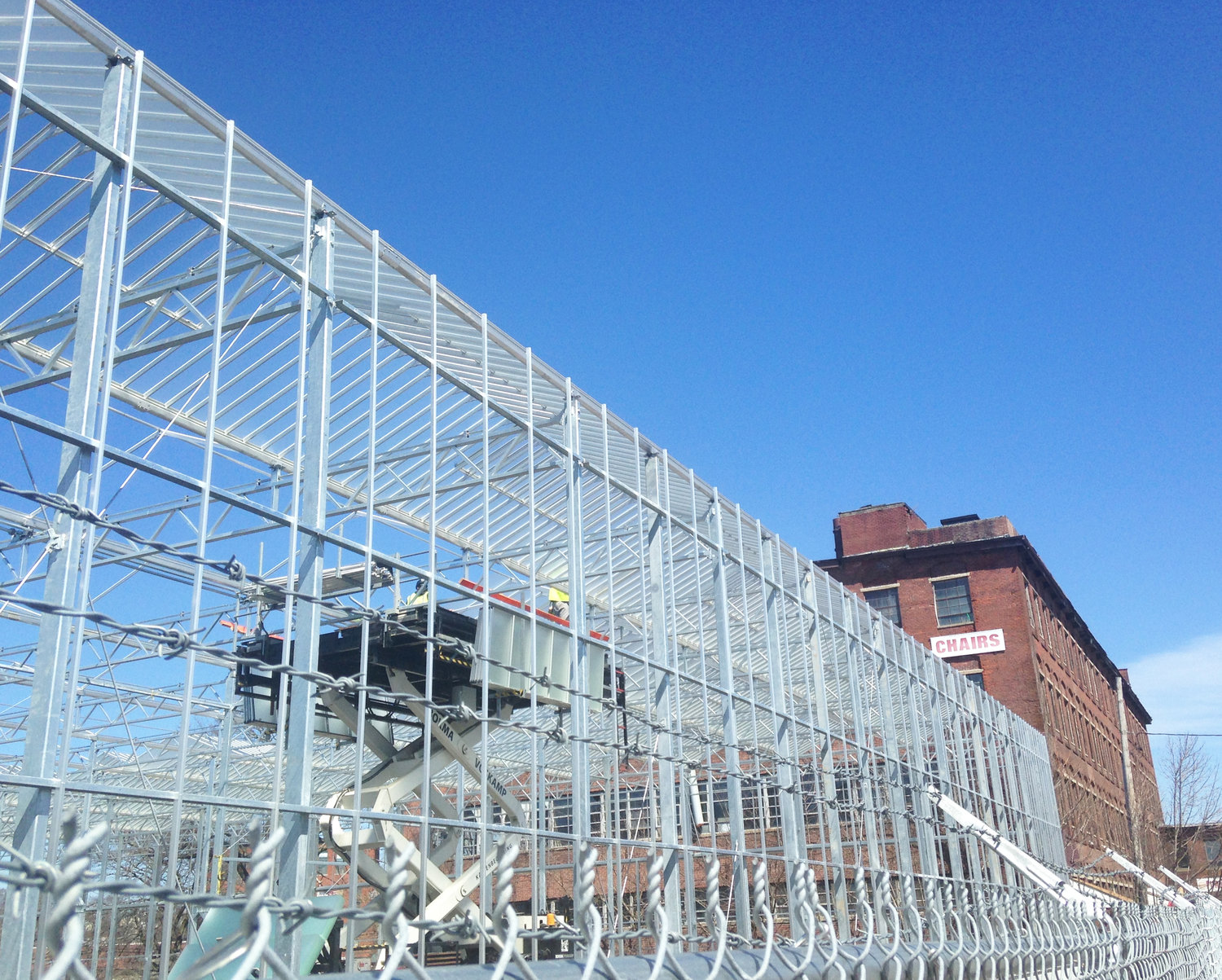 The new Gotham Greens urban greenhouse factory now under construction in Olneyville.