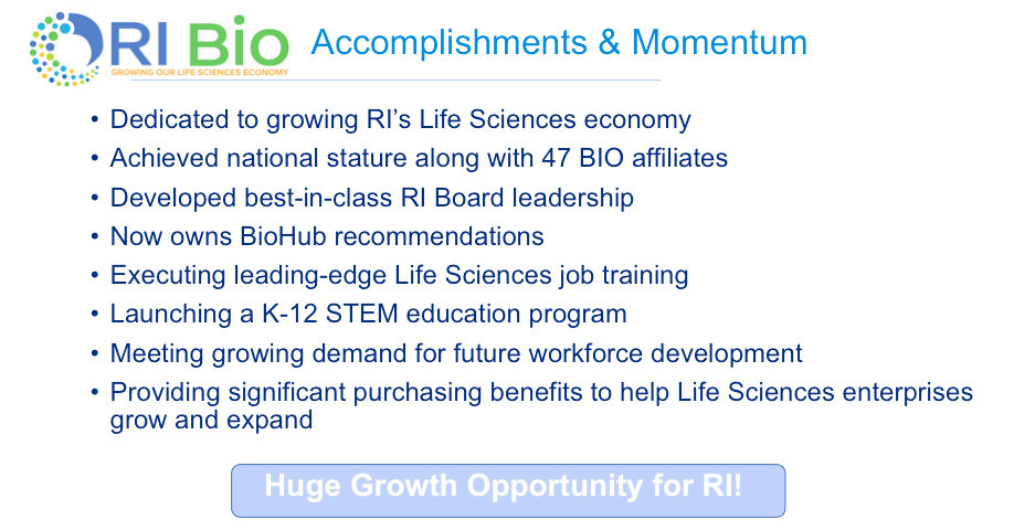 The RI Bio slide presented at the April 17 gathering at EpiVax, listing its accomplishments and momentum.