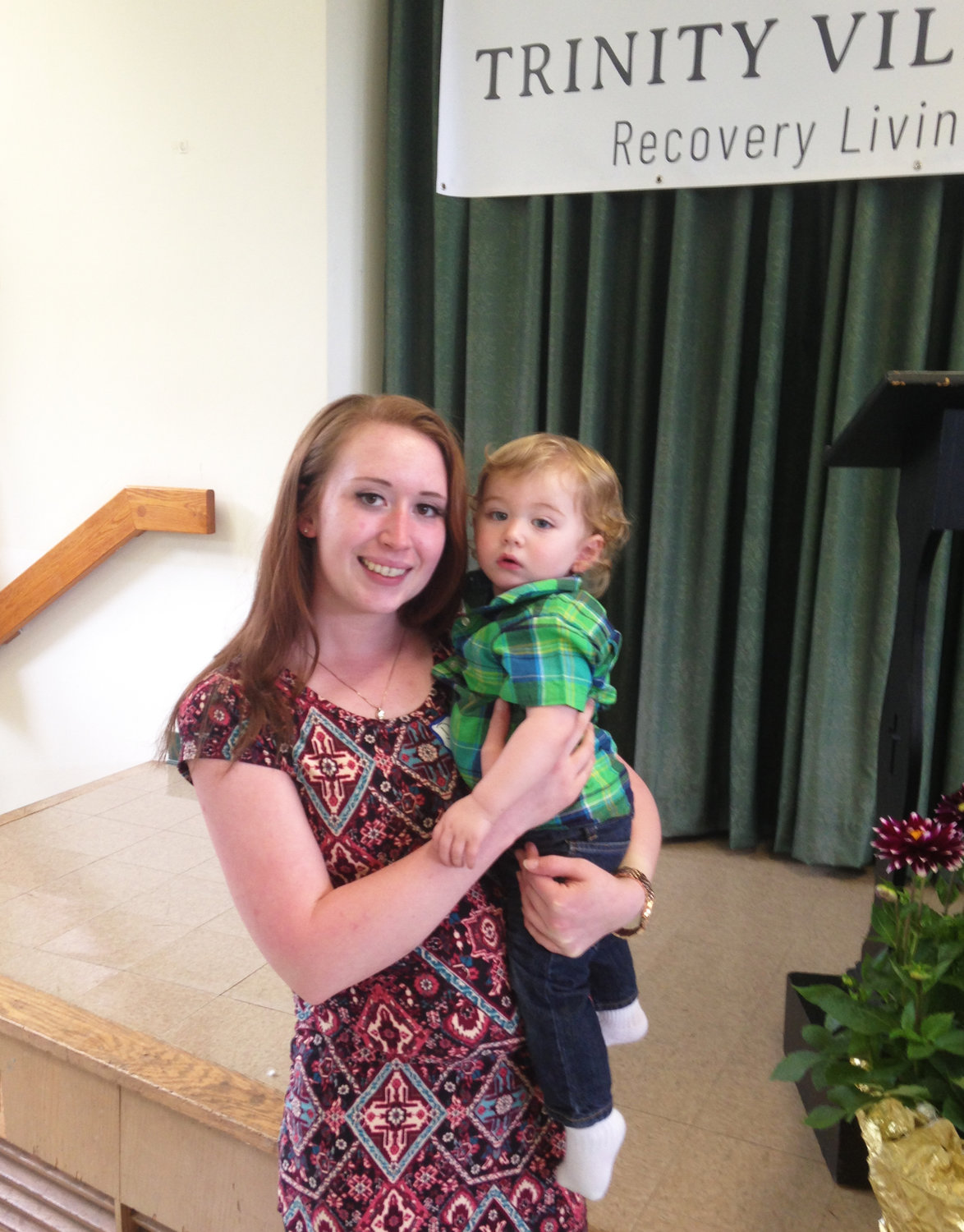 Danielle and her son at the celebration of the opening of The Blessing Way in Portsmouth.