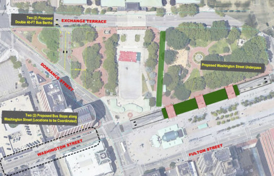The proposed plans by RIDOT to build a tunnel underneath Kennedy Plaza to disperse the current central bus hub in downtown Providence.