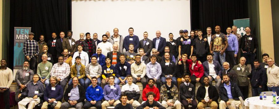 The group photo of those attending the Ten Men Summit on Nov. 7 at Johnson & Wales University.