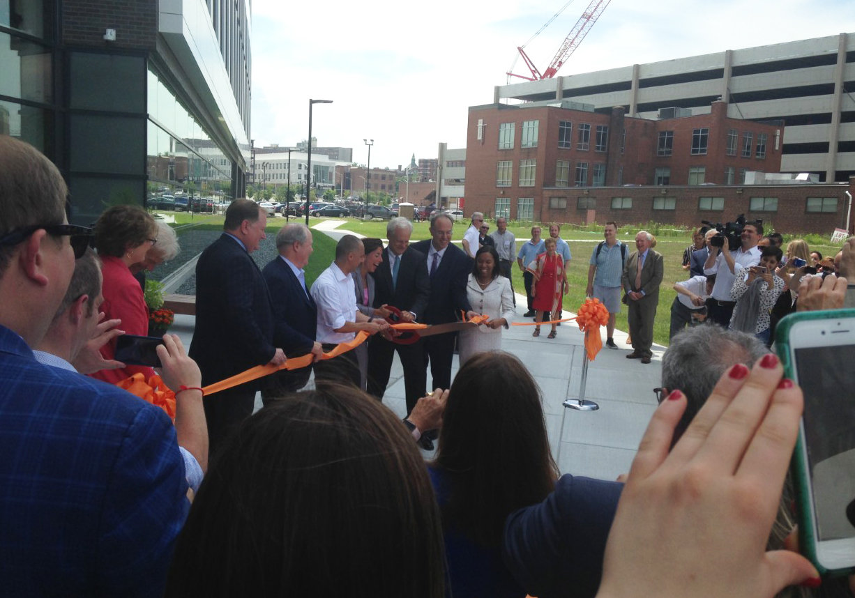 The ribbon-cutting ceremony to open the Wexford Innovation Complex in July.