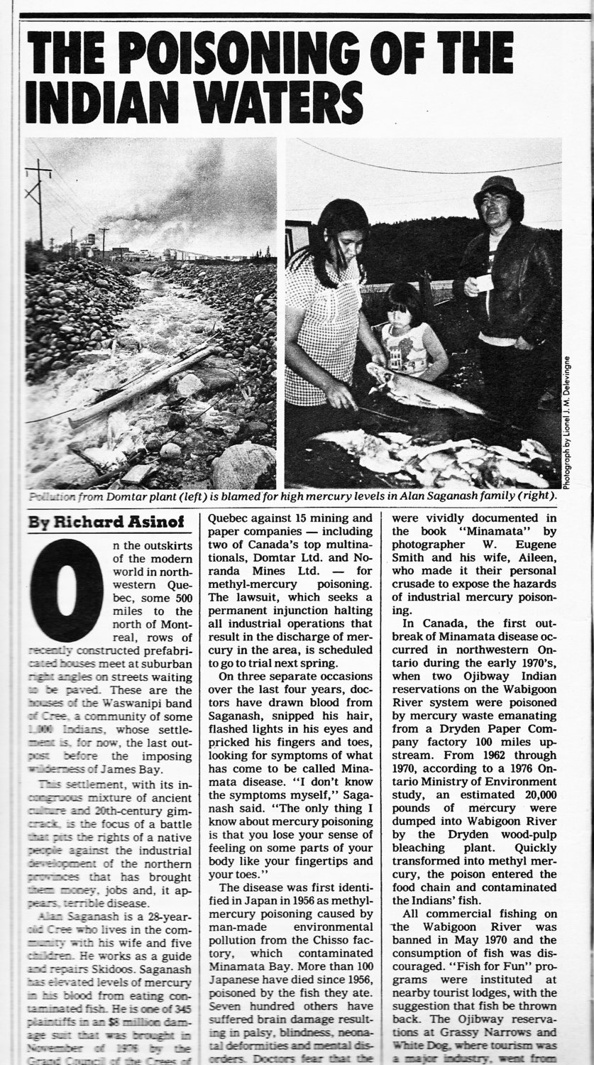 "The first page of the October 1979 article in the New York Times Magazine, ""The Poisoning of the Indian Waters."""