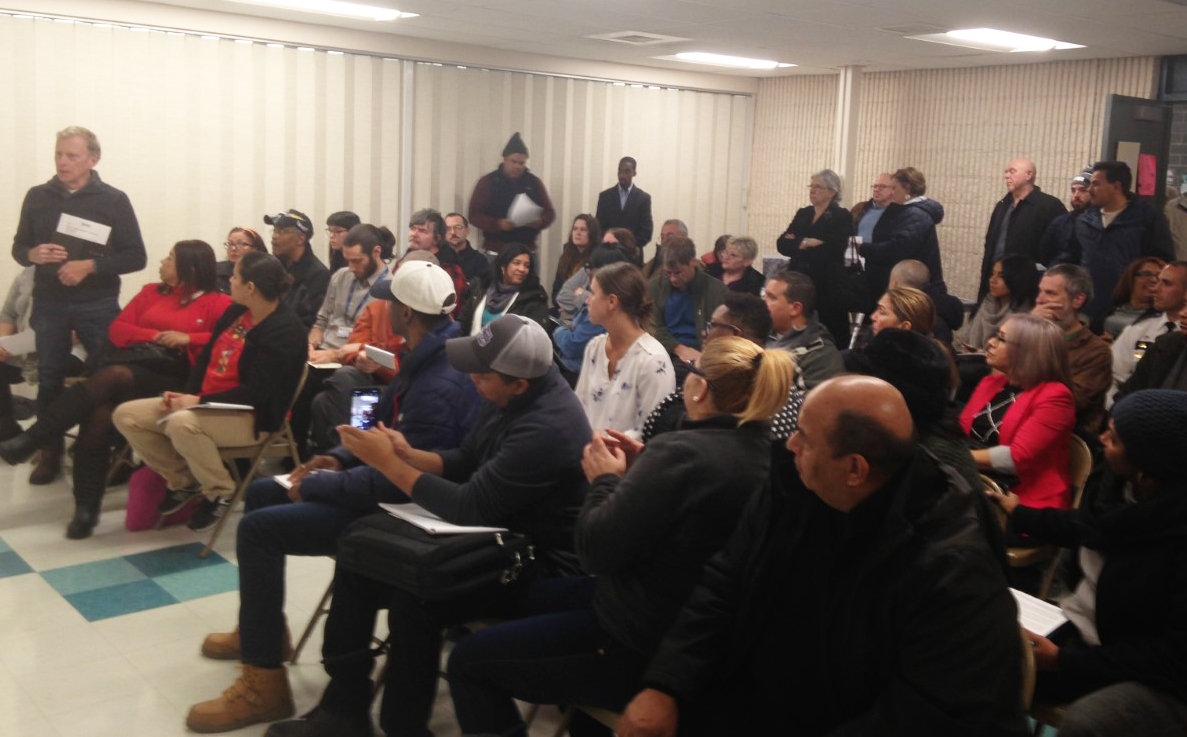 It was standing room only when neighborhood residents met to discuss their opposition to a planned waste transfer station on Allens Avenue at the Washington Park Center on Wednesday, Jan. 8.