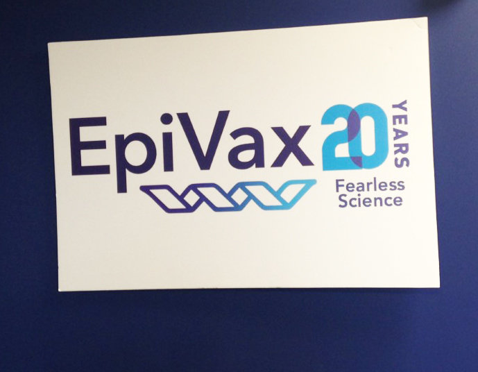 The sign above the reception desk at EpiVax in Providence, where the firm's potential work in designing a smarter vaccine for the coronavirus is very much part of the mission: fearless science.