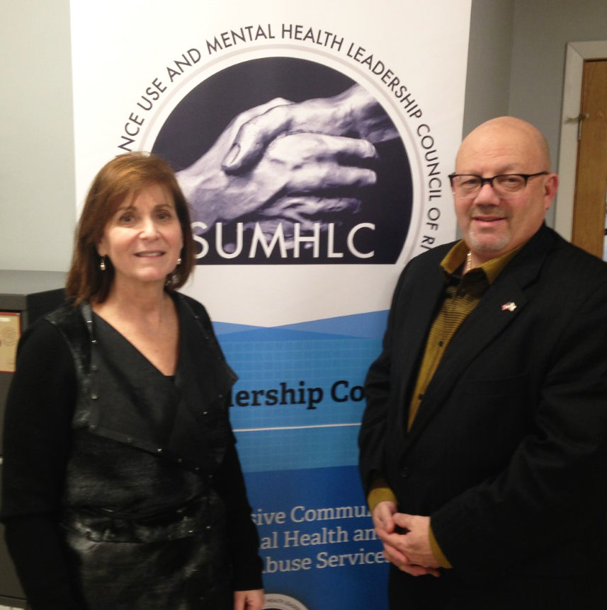Susan Storti, left, and John Tassoni, of The Substance Use and Mental Health Leadership Council of RI