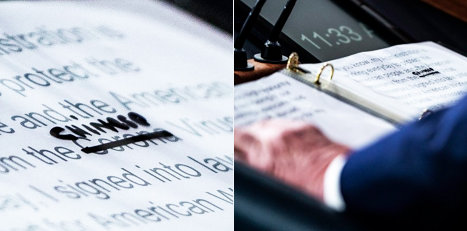"In a photograph of his notes for remarks at a recent news briefing, it captures how President Trump crossed out corona and wrote ""Chinese"" as an intentional change."