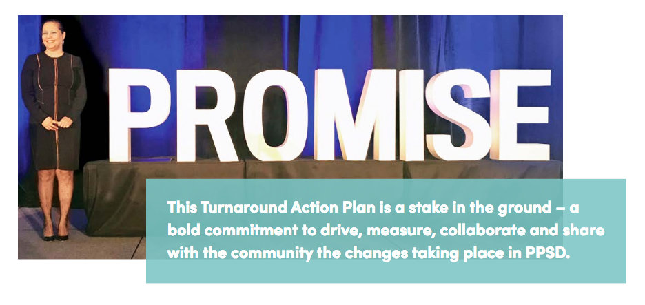 An image for the turanround action plan, featuring a photograph of Education Commissioner Angelica Infante-Green.