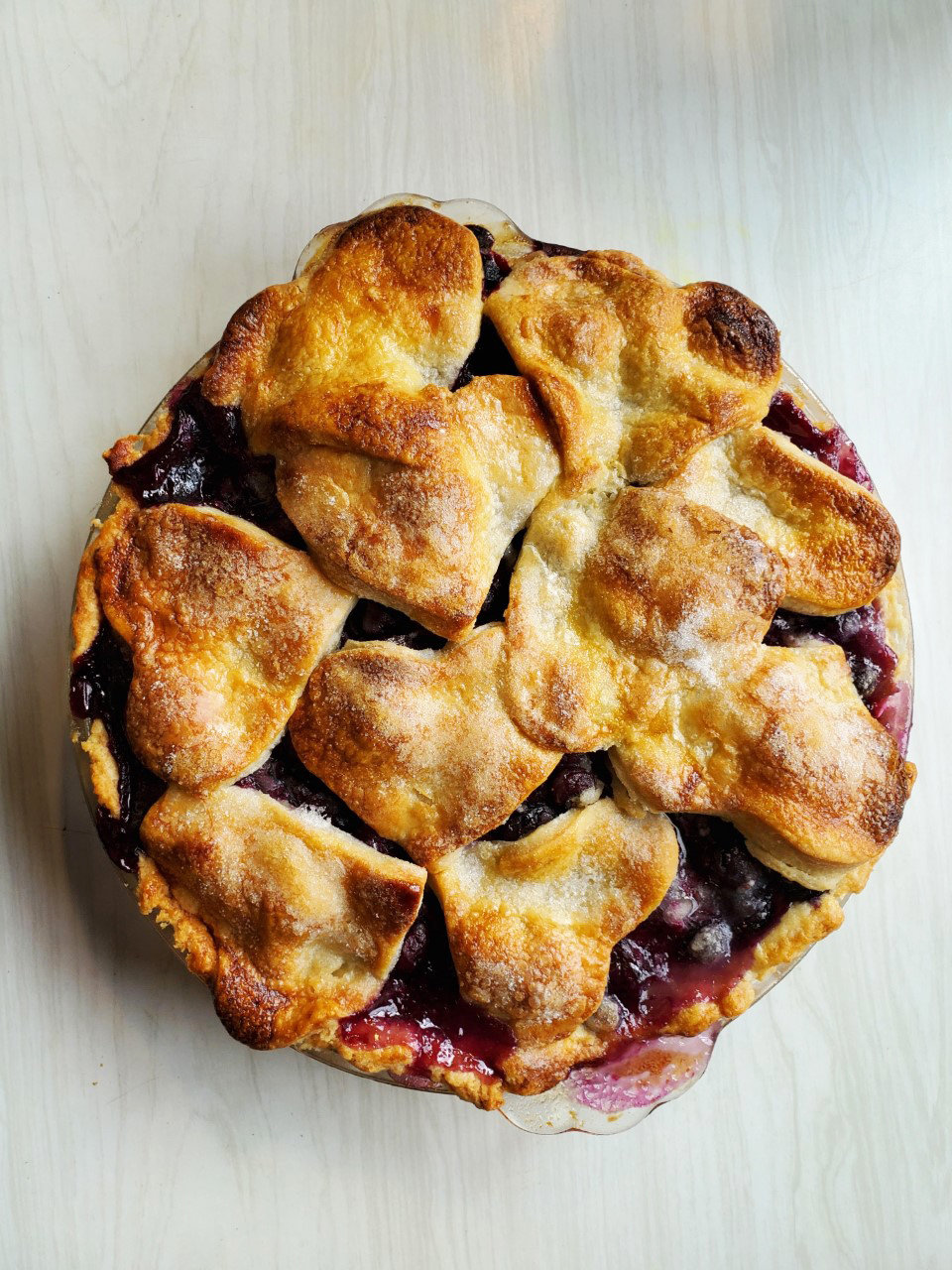 Blueberry pie, made with fresh-picked blueberries, with heart-shaped cut outs for the crust.