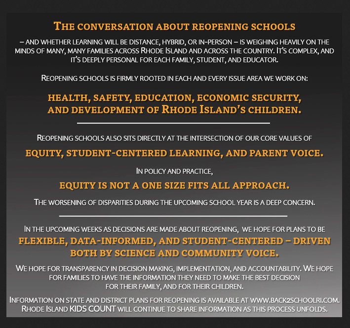 "Rhode Island Kids Count tweeted out its thoughts about ""The conversation about reopening schools"" on Aug. 1, providing important context to how the decision will get made and who will participate in the decision making."