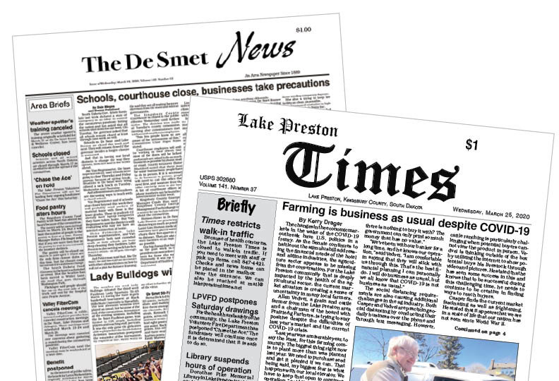 DeSmet News and Lake Preston Times before the redesign and merger.