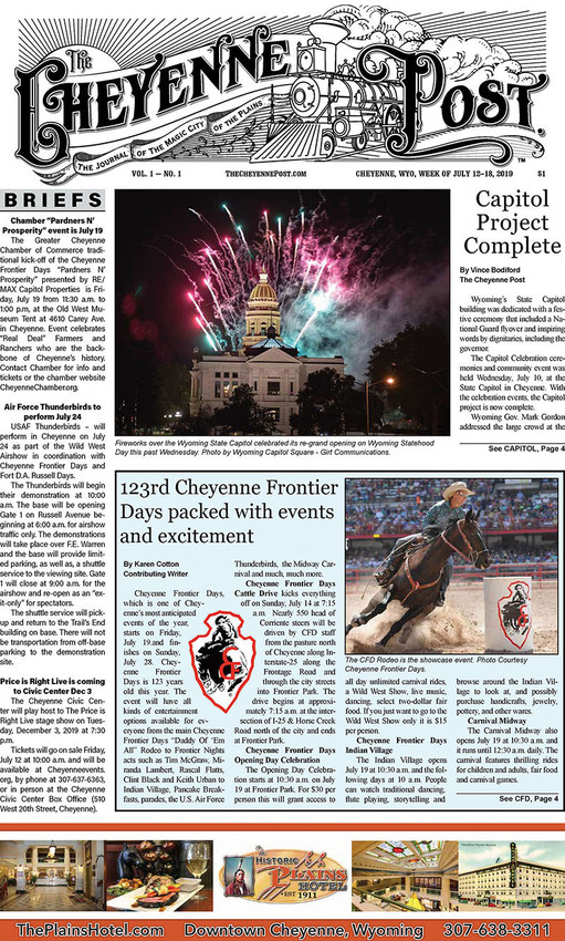The front page of the Cheyenne Post's first issue