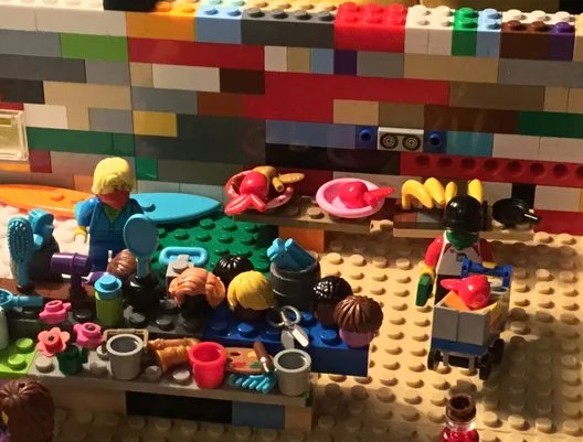 Xan Clarkson's Lego grocery store includes masked shoppers — a sign of the times during the novel coronavirus. (Photo: Xan Clarkson)