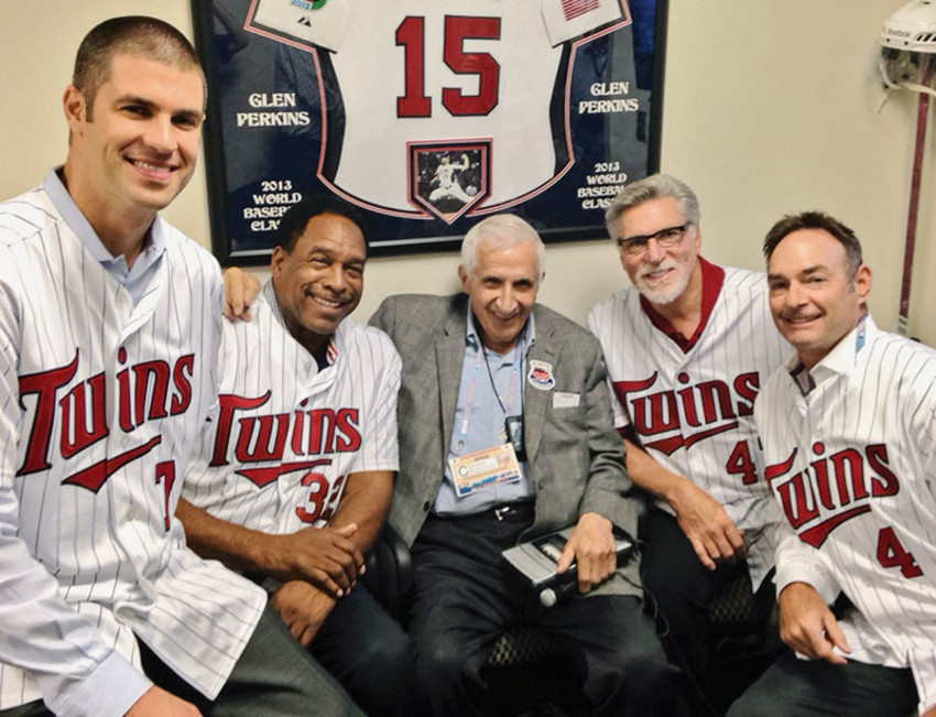 Sid Hartman (center) during All-Star Game weekend 2014 with Joe Mauer, Dave Winfield, Jack Morris and Paul Molitor (Photo by Dustin Morse/Minnesota Twins)