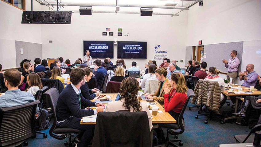 The Facebook Local News Digital Subscriptions Accelerator meets for their third and final in-person meeting of the program in Menlo Park, Calif. (Photo courtesy of Facebook)
