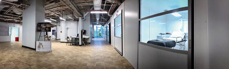 A panorama view of a negative pressure isolation room for COVID-19 patients on the third floor of The Commercial Appeal's former building. This space formerly served as the newsroom.