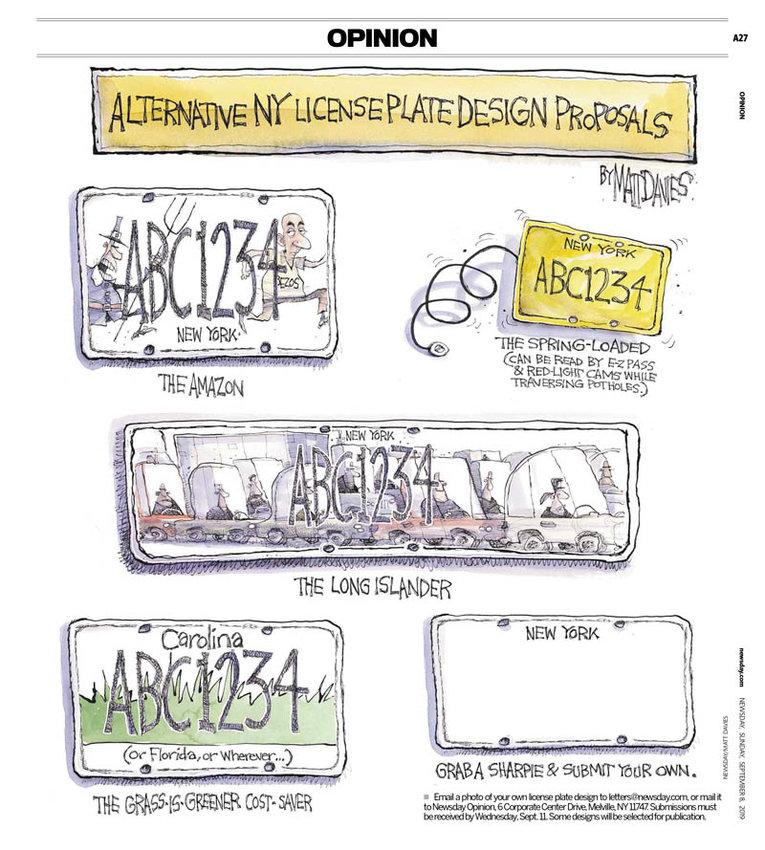 A few cartoon samples by Newsday's editorial cartoonist Matt Davies.