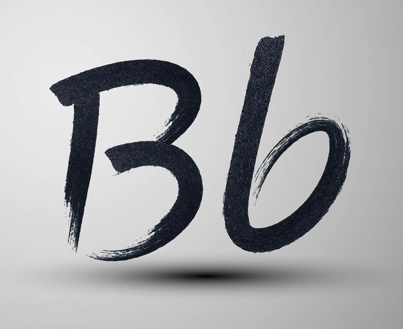 vector calligraphic hand-drawn marker or ink letter B
