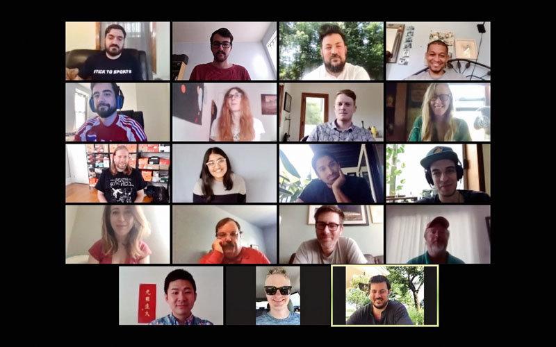 Staff members of Defector Media meet via Zoom