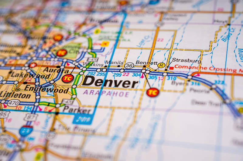 Denver USA map travel background