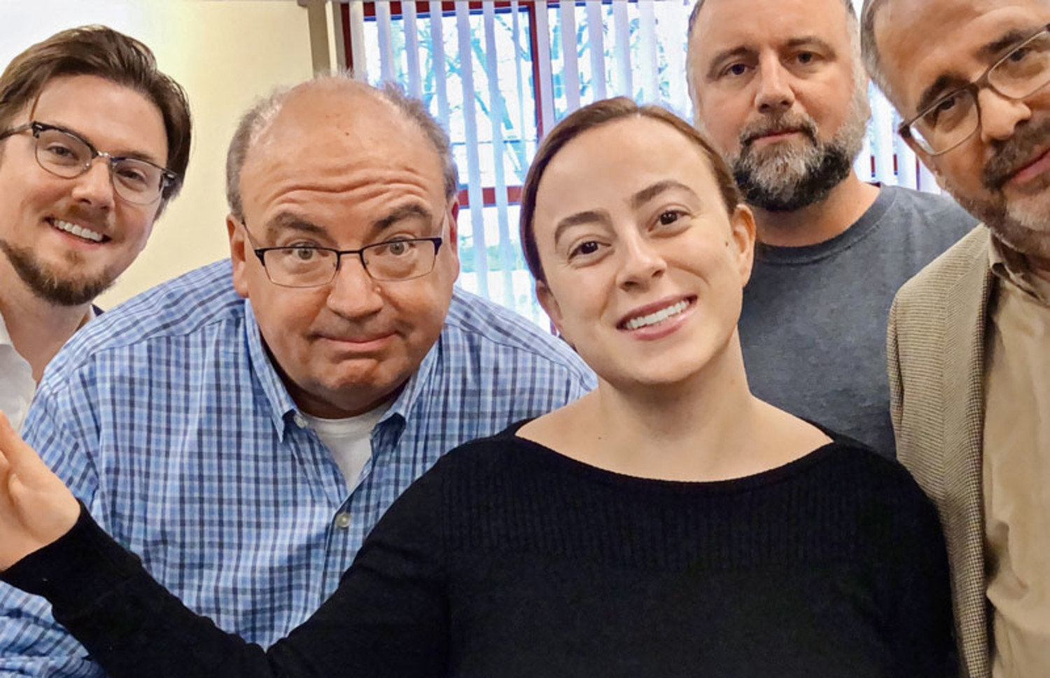 The Mahoning Matters staff in December 2019: (from left) reporter Justin Dennis, editor Mark Sweetwood, reporter Jess Hardin, content manager Jeremy Harper, and business executive Mark Eckert. Eckert died from complications of COVID-19 in March. (Photo provided)
