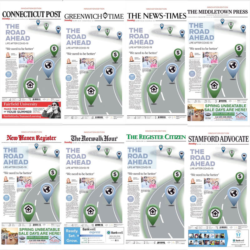 The front page of the eight newspapers which ran The Road Ahead: Life After COVID-19 special edition on May 3, 2020.