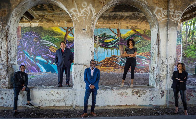 The BridgeDetroit Team (from left to right): Orlando Bailey, Louis Aguilar, Stephen Henderson, Olivia Lewis and Catherine Kelly. Not pictured Bryce Huffman.