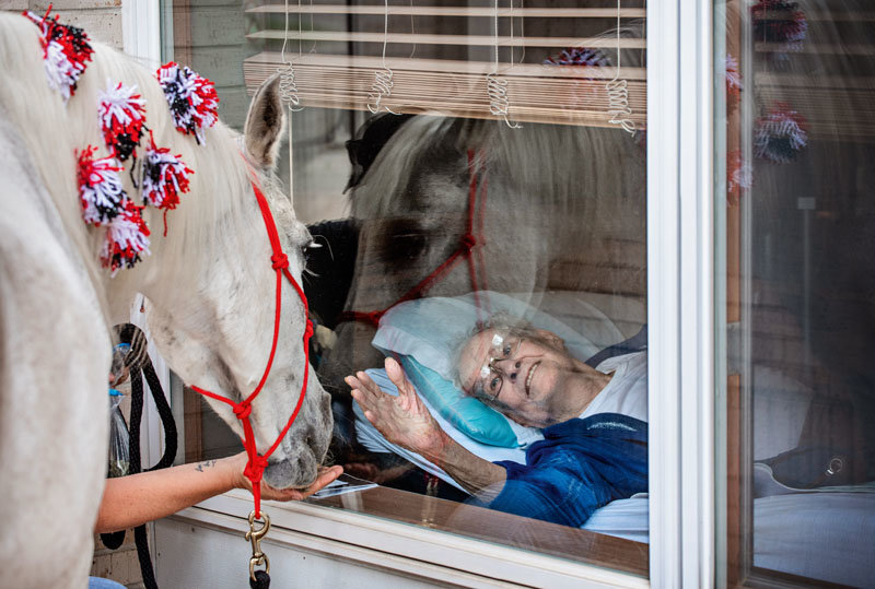 "Having grown up with horses in Glenwood, Iowa, Edwin Johnson was happy to see Jewel, a 30-something-year-old Arabian horse who made a visit to his window with owner Sheila Carroll of Lincoln at Holmes Lake Rehabilitation & Care Center. They call it ""window wellness,"" a visit to residents of assisted-living facilities who can't have visitors in the buildings because of COVID-19 precautions."