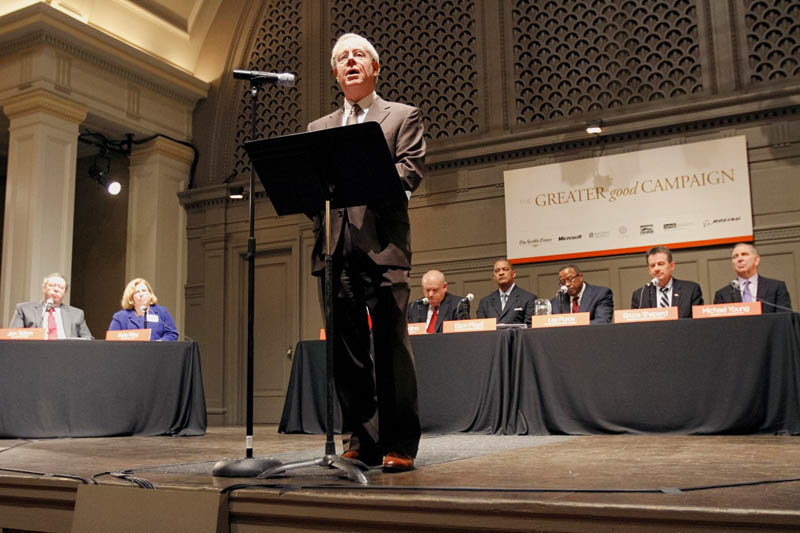 Seattle Times publisher Frank Blethen gives the keynote at a forum at Town Hall in Seattle featuring the state's six university presidents as part of the Greater Good Campaign. (Photo provided)