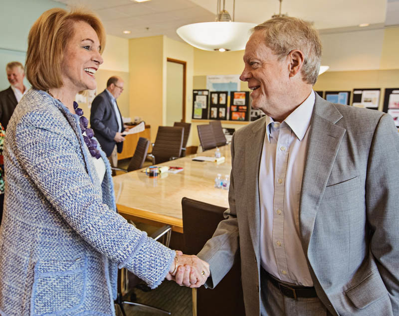 Seattle Mayor Jenny Durkan meets with Seattle Times publisher Frank Blethen and the editorial board.