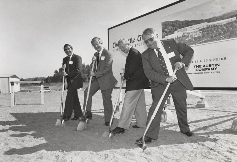 Robert (Bob) Blethen (far left), Will Blethen (second from left) and Frank Blethen (second from right) at the groundbreaking of the North Creek facility.