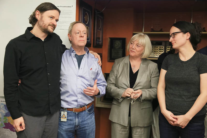 From left: Ryan Blethen, associate publisher; Frank Blethen, publisher; Kathy Best, then-Seattle Times editor; and Courtney Riffkin, digital production assistant, after winning the 2015 Pulitzer Prize for Breaking News Reporting for its coverage of the Oso landslide that killed 43 people and their follow-up reporting.
