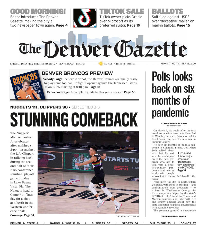The front page of the first edition of the Denver Gazette.