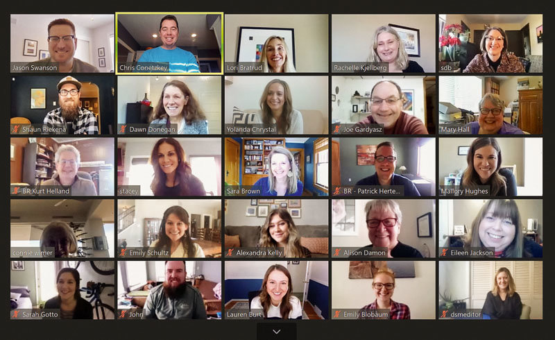 The staff of Business Publications Corp. gathered virtually during a recent all-staff meeting.