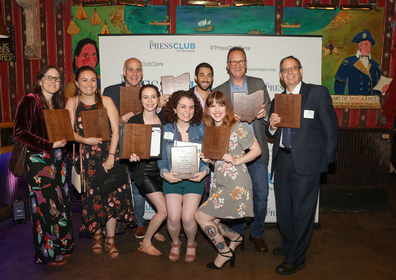 In this 2019 photo, members of the Cleveland Jewish Publication Co. staff pose with their awards at the Press Club of Cleveland Excellence in Journalism awards dinner in which they were named Best Non-Daily Newspaper in the State of Ohio in 2019, 2018, 2016 and 2015, and was runner-up in 2017 and 2020.