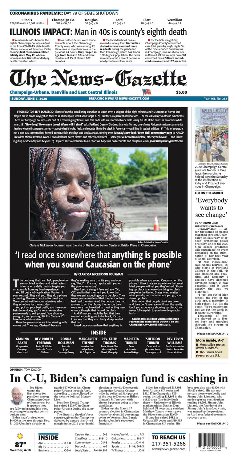 "Personal essays from the ""Being Black in America"" series were printed on the front page of the News-Gazette."