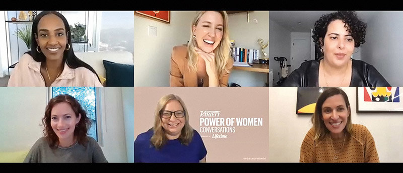 Variety executive editor Shirley Halperin (center in blue) hosts a virtual roundtable with female musicians during a Power of Women event.