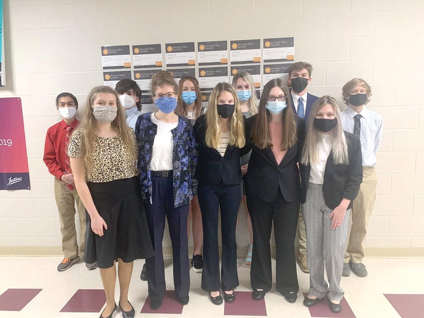 Alpena student competing in the FBLA District Conference are (front, from left)  Mary Bray, Lily Bray, Hadassah Toliver, Kendra Hulsey and Re'Anna Moss (back) Alexis Huesca, Tyler Cantwell, Sophia Bright, McKenzie Lewin, Bryce Martin and Brendon Adams.