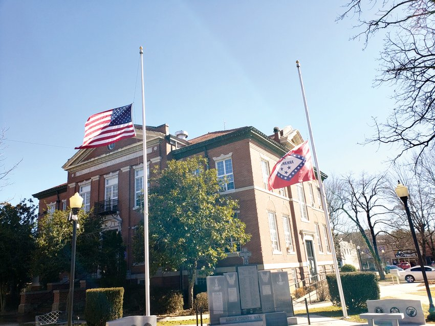 Arkansas Gov. Asa Hutchinson said Tuesday that flags were lowered to half-staff in accordance with President Biden's proclamation honoring the more than 500,000 people who have died of COVID-19 so far.