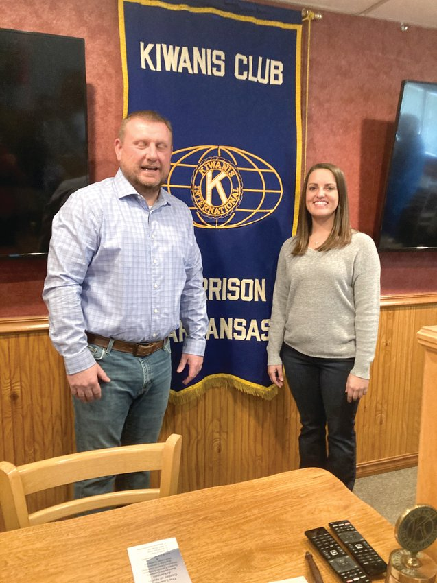 Tess Richesin from The Learning Center (right) spoke about the organization's services provided to the community. Tess is pictured with Kiwanis President Chuck Eddington.