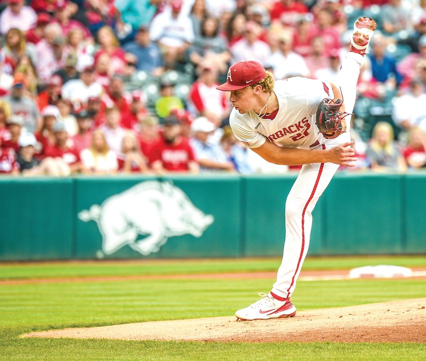 Arkansas Razorback starting pitcher Jaxon Wiggins delivers a pitch against Nebraska in the the Fayetteville Regional. The Hogs open the Super Regional on Friday against North Carolina State. The games will be held at Baum-Walker Stadium.