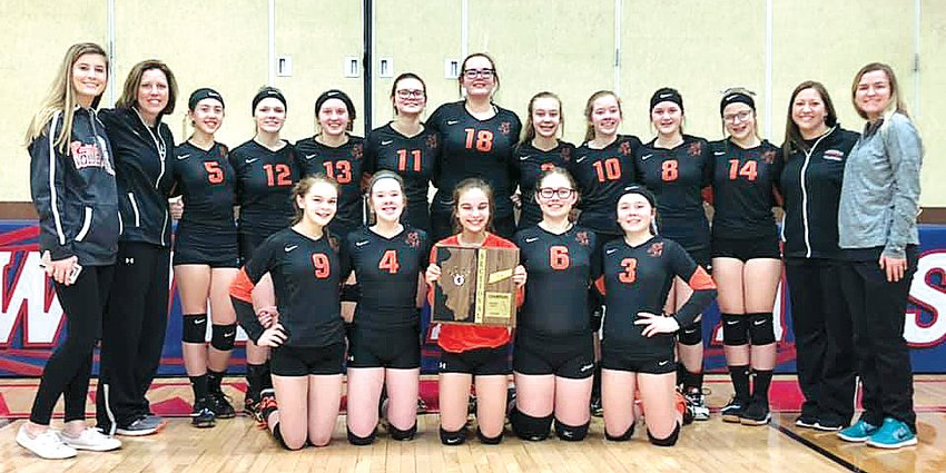 The Lincolnwood Junior High eighth grade volleyball team earned a trip to the IESA Class 2A State Tournament with a 26-24, 25-20 win over Carrollton on Monday, March 11. Team members, in front, from the left, are Skyler Shull, Amanda Seelbach, Jasmine Vickery, Emily Debbonaire and Taryn Millburg. In the back row are manager Kayley Armour, Head Coach Kimberly Denney, Ashley Evans, Makenna Lutz, Haelee Damm, Laura Steffen, Kasandra Reif, Avery Pope, Justine Seelbach, Morgan Cowdrey, Kennady Clayton, Assistant Coach Lesley Cowdrey and Assistant Coach Rachael Gorman.