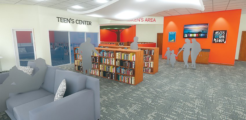 This Farnsworth Group rendering looks southwest on the main floor of the new library, highlighting the  center for teen books and the entrance to the children's center.